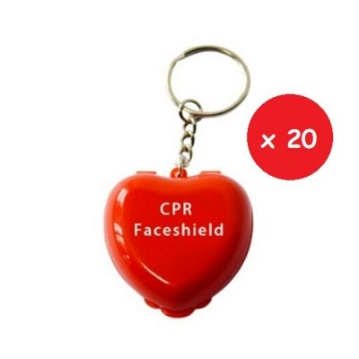 CPR HEART KEYRING RED 20 – Set da 20 pezzi di Portachiavi in plastica rigida con faceshield didattica