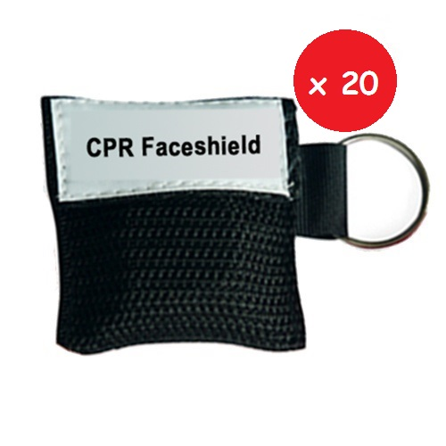CPR MINI KEYRING BLACK 20 – Set da 20 pezzi di Portachiavi con faceshield didattica
