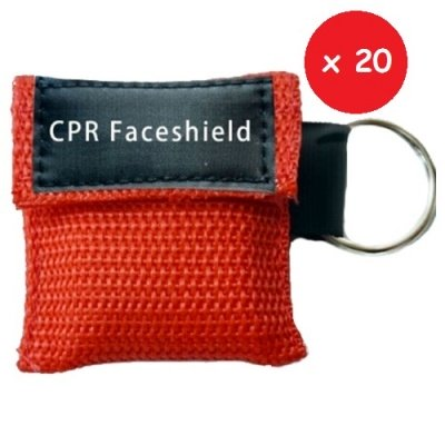 CPR MINI KEYRING RED 20 – Set da 20 pezzi di Portachiavi con faceshield didattica